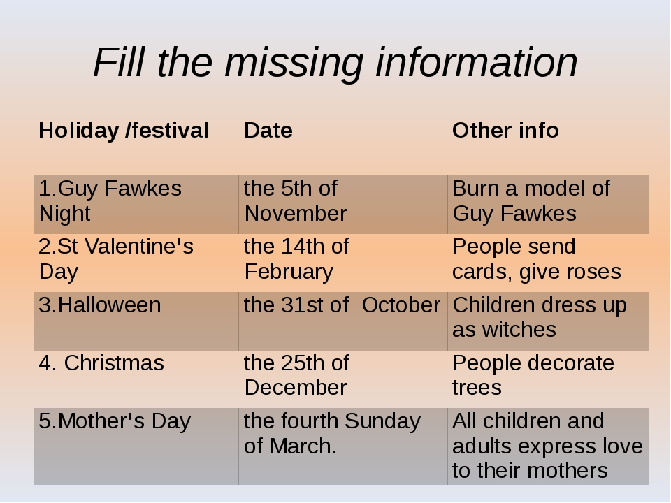 Fill the missing information Holiday /festival Date Other info 1.GuyFawkes Ni...