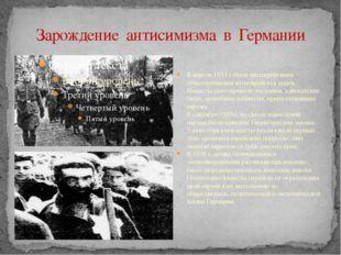 Зарождение антисимизма в Германии В апреле 1933г. была инспирирована общегер