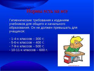 Нормы есть на все Гигиенические требования к изданиям учебников для общего и