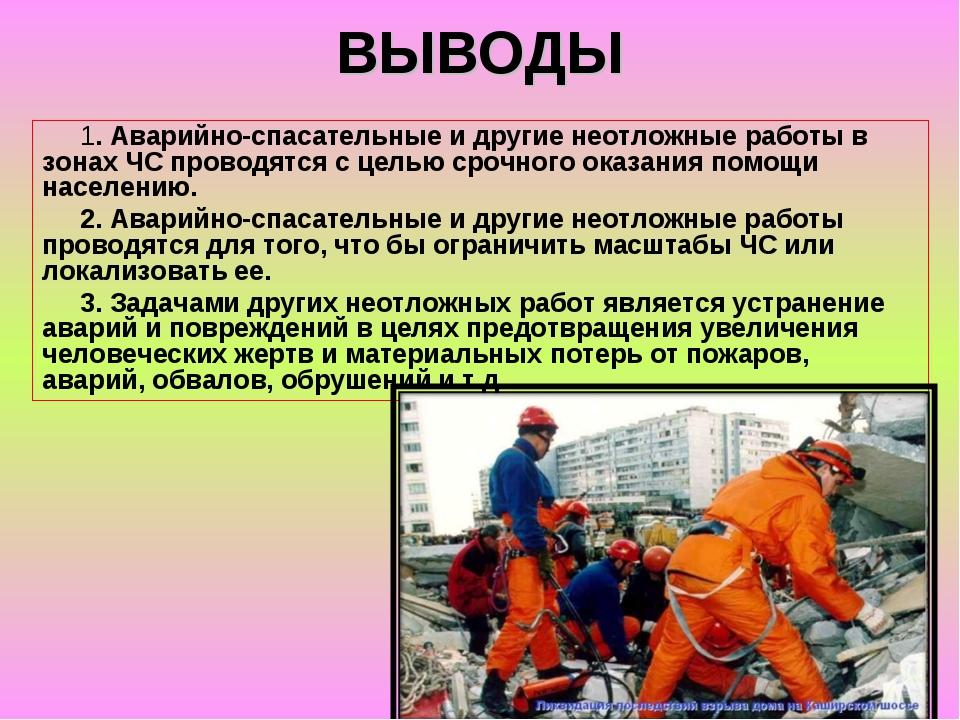 ВЫВОДЫ 1. Аварийно-спасательные и другие неотложные работы в зонах ЧС проводя...
