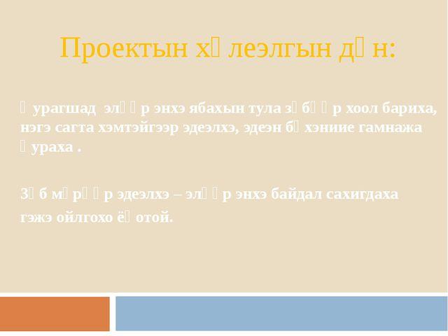 Проектын хүлеэлгын дүн: Һурагшад элүүр энхэ ябахын тула зүбөөр хоол бариха, н...
