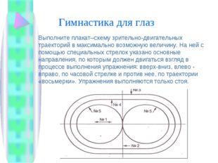 Гимнастика для глаз Выполните плакат–схему зрительно-двигательных траекторий
