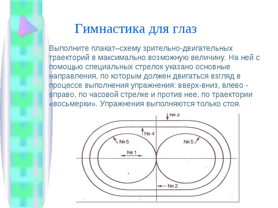 Гимнастика для глаз Выполните плакат–схему зрительно-двигательных траекторий...
