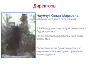 Директоры Наумчук Ольга Марковна – отличник народного образования. В 1968 год