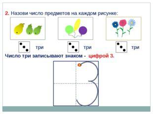 2. Назови число предметов на каждом рисунке: три три три Число три записывают