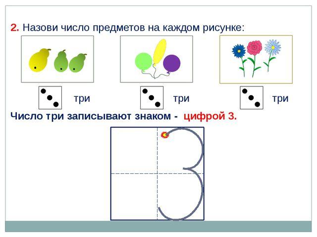 2. Назови число предметов на каждом рисунке: три три три Число три записывают...