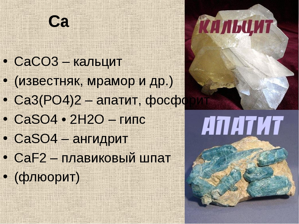Ca CaCO3 – кальцит (известняк, мрамор и др.) Ca3(PO4)2 – апатит, фосфорит CaS...