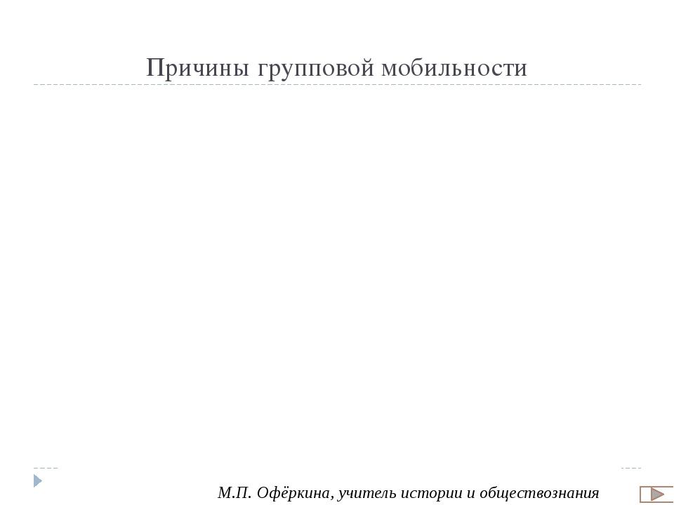 Причины индивидуальной мобильности М.П. Офёркина, учитель истории и обществоз...
