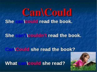 Can\Could She can\could read the book. She can't\couldn't read the book. Can\