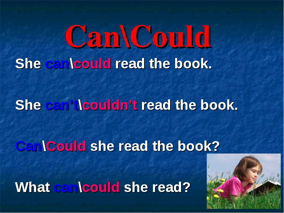 Can\Could She can\could read the book. She can't\couldn't read the book. Can\...