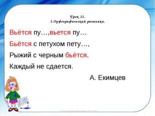 Урок 11. 1.Орфографическая разминка. Вьётся пу…,вьется пу… Бьётся с петухом