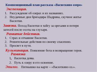 Композиционный план рассказа «Васюткино озеро» Экспозиция. Рассуждение об оз