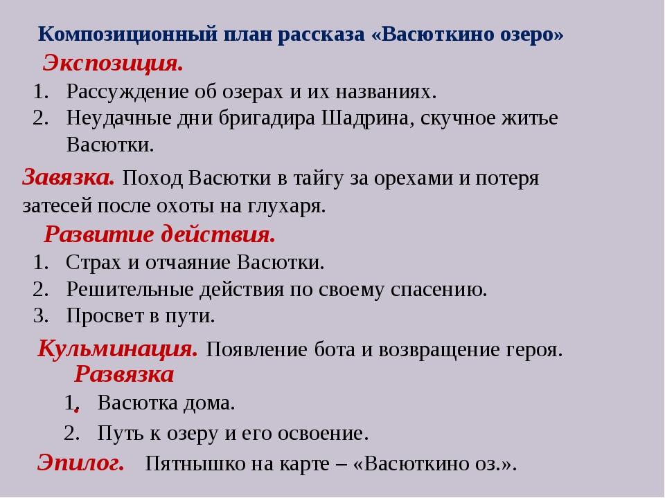 Композиционный план рассказа «Васюткино озеро» Экспозиция. Рассуждение об оз...