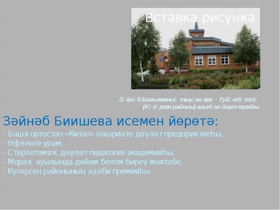 Зәйнәб Биишеваның тыуған ере - Туйөмбәттә (Күгәрсен районы) асылған йорт-музе...