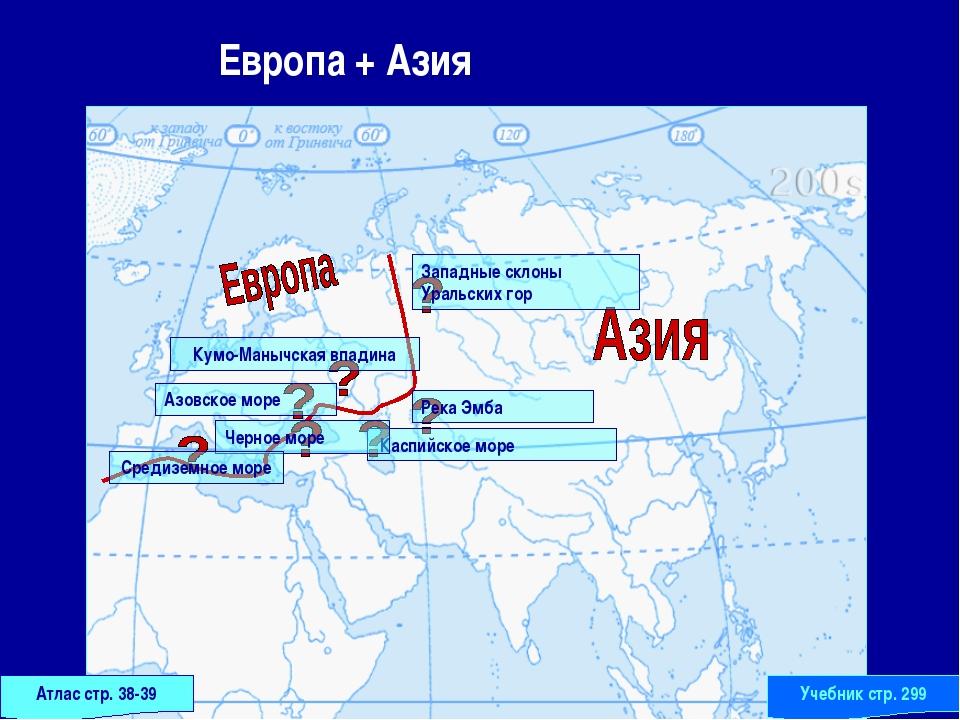 Европа + Азия Атлас стр. 38-39 Учебник стр. 299 Западные склоны Уральских го...