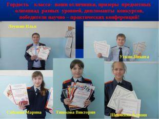 * * Гордость класса- наши отличники, призеры предметных олимпиад разных уровн
