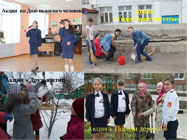 * * Акция ко Дню пожилого человека Акция « Территория чистоты» Акция « Друзья...