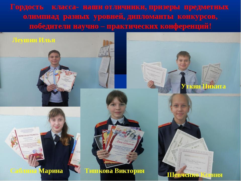 * * Гордость класса- наши отличники, призеры предметных олимпиад разных уровн...