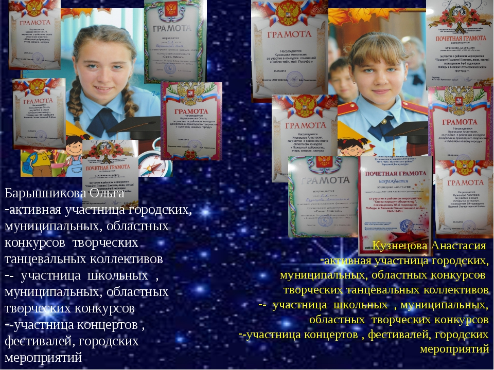* * Барышникова Ольга активная участница городских, муниципальных, областных...