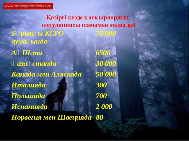 Қазіргі кезде қасқырлардың популяциясы шамамен мынадай Бұрынғы КСРО аумағынд...