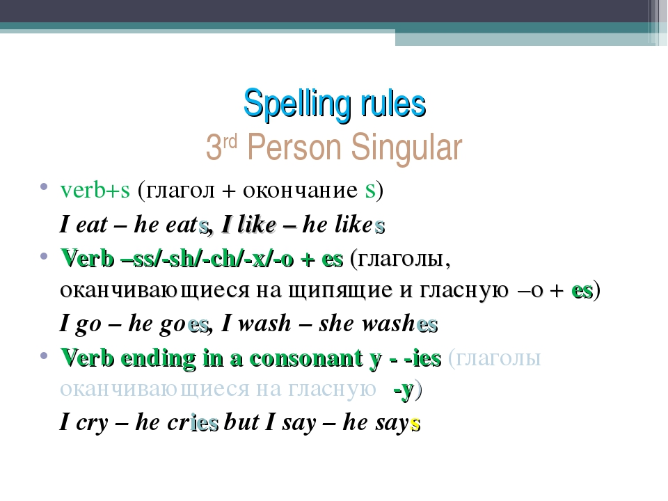 Spelling rules 3rd Person Singular verb+s (глагол + окончание s) 	I eat – he...