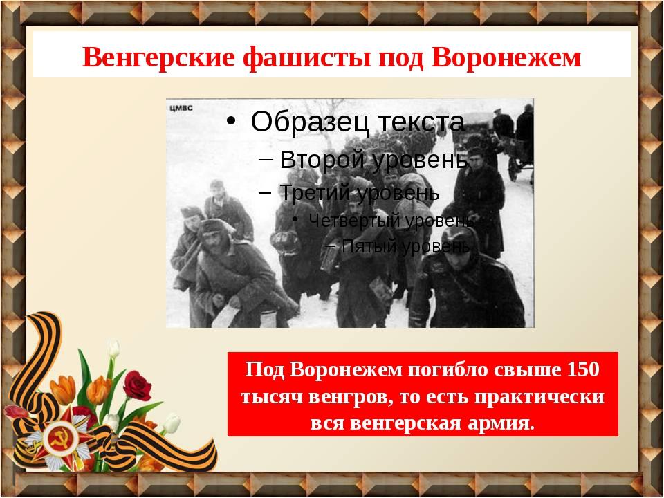 Венгерские фашисты под Воронежем Под Воронежем погибло свыше 150 тысяч венгро...