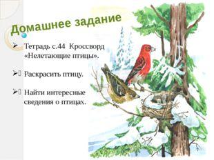 Домашнее задание Тетрадь с.44 Кроссворд «Нелетающие птицы». Раскрасить птицу.