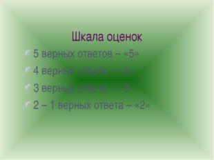 Шкала оценок 5 верных ответов – «5» 4 верных ответа – «4» 3 верных ответа – «