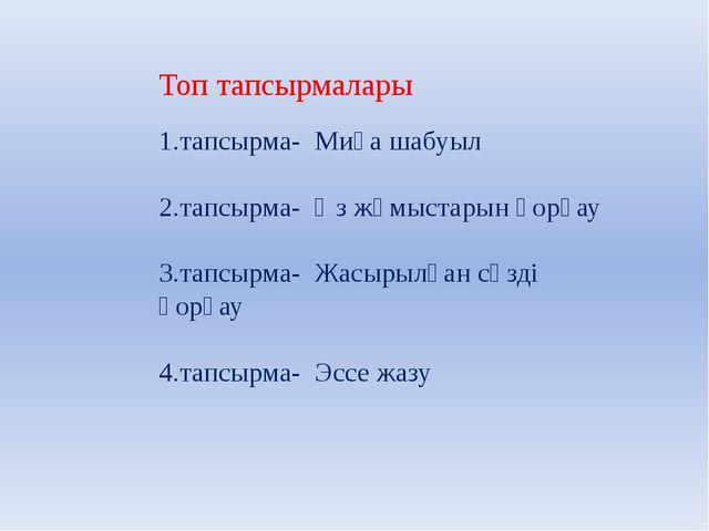 Топ тапсырмалары 1.тапсырма- Миға шабуыл 2.тапсырма- Өз жұмыстарын қорғау 3.т...