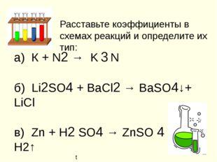Расставьте коэффициенты в схемах реакций и определите их тип: а) К + N2 → K 3
