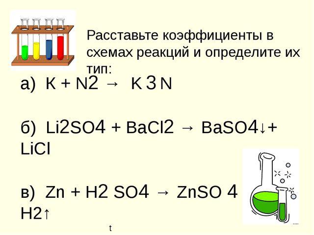 Расставьте коэффициенты в схемах реакций и определите их тип: а) К + N2 → K 3...