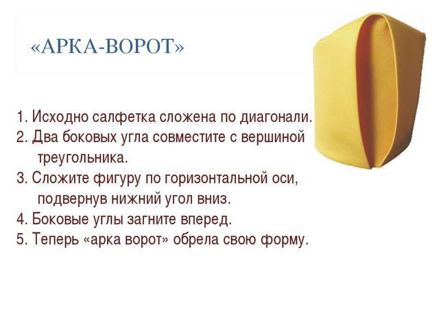 «АРКА-ВОРОТ» 1. Исходно салфетка сложена по диагонали. 2. Два боковых угла с...