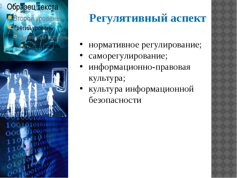 Регулятивный аспект нормативное регулирование; саморегулирование; информацион...