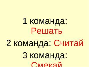 1 команда: Решать 2 команда: Считай 3 команда: Смекай