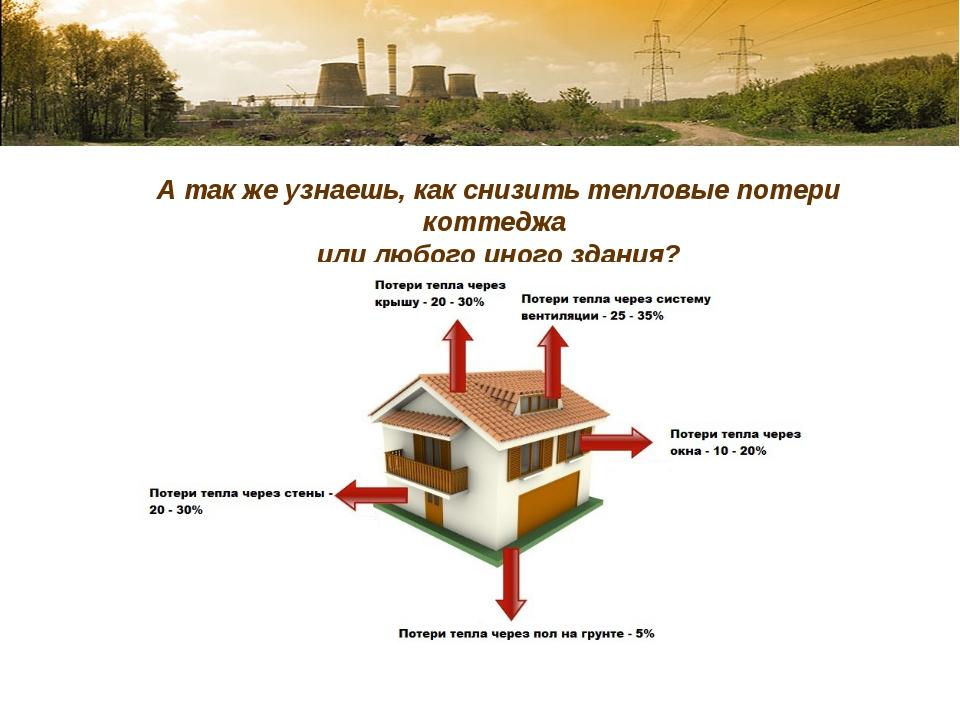 А так же узнаешь, как снизить тепловые потери коттеджа или любого иного здания?