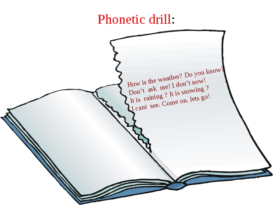 Phonetic drill: How is the weather? Do you know? Don't ask me! I don't now! I...