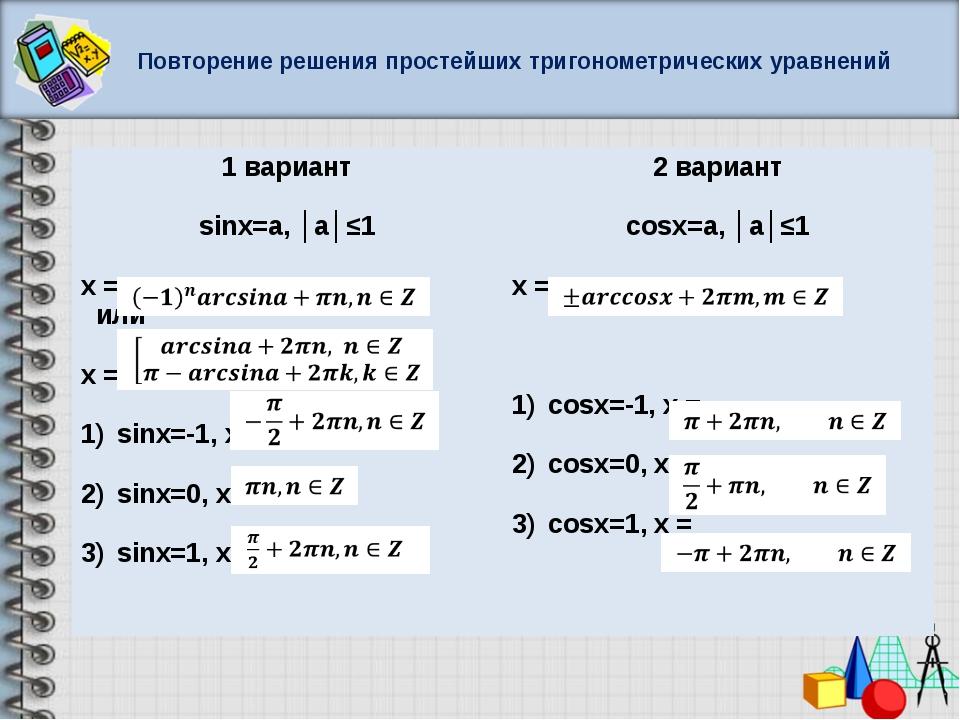 Повторение решения простейших тригонометрических уравнений 1 вариант sinx=a,...