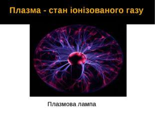 Плазма - стан іонізованого газу Плазмова лампа