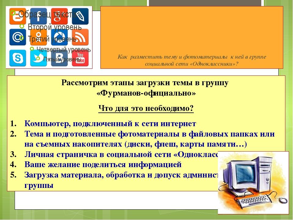Как разместить тему и фотоматериалы к ней в группе социальной сети «Одноклас...