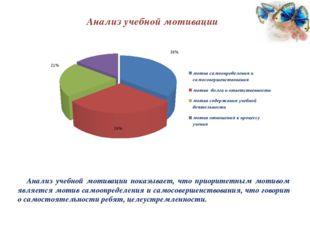 Анализ учебной мотивации Анализ учебной мотивации показывает, что приоритетны