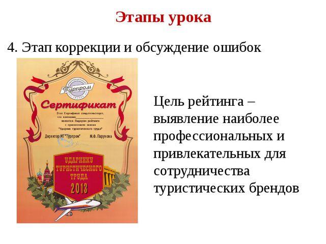 Этапы урока 4. Этап коррекции и обсуждение ошибок Цель рейтинга – выявление н...