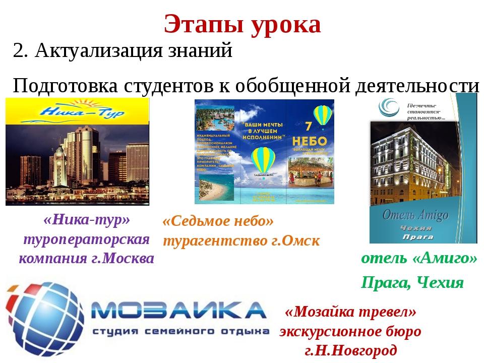 2. Актуализация знаний Подготовка студентов к обобщенной деятельности Этапы...