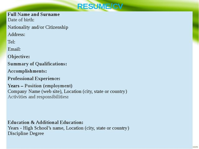 RESUME/CV Full Name and Surname Date of birth: Nationality and/or Citizenship...