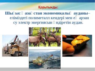 Қорытынды: Шығыс Қазақстан экономикалық ауданы– еліміздегі полиметалл кендер