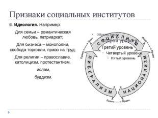 Признаки социальных институтов 6. Идеология. Например: Для семьи – романтичес