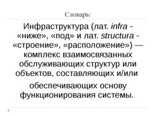 Словарь: Инфраструктура (лат.infra- «ниже», «под» и лат.structura- «строе
