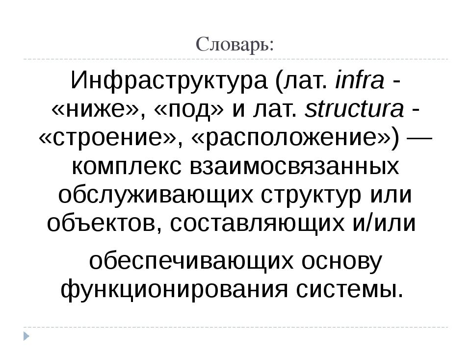 Словарь: Инфраструктура (лат.infra- «ниже», «под» и лат.structura- «строе...