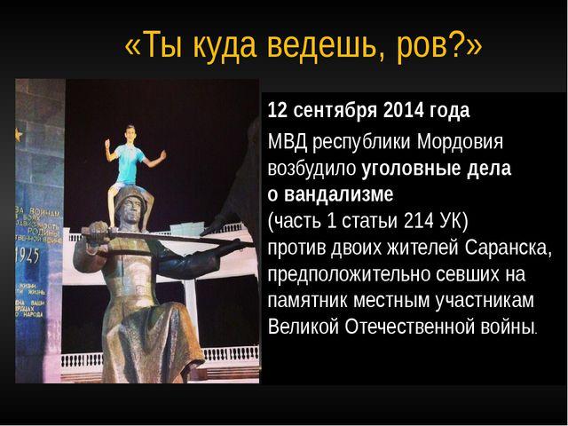 12 сентября 2014 года МВД республики Мордовия возбудило уголовные дела о ванд...