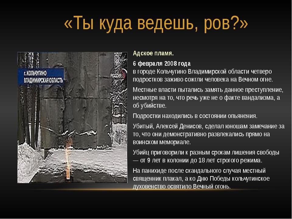 Адское пламя. 6 февраля 2008 года в городе Кольчугино Владимирской области че...
