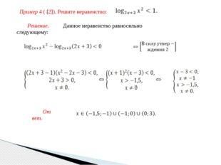 Пример 4 ( [2]). Решите неравенство: Решение. Данное неравенство равносильно